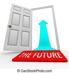 The Future - Door Mat Open Door Arrow - A placemat with the...