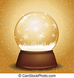 Golden snow globe