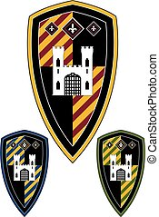Medieval Knights Castle Shield - Vector Illustration of a...