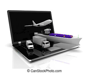 logistics concept. laptop , plane, ship, truck . 3d rendered illustration