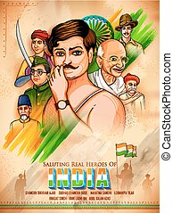 Tricolor India background with Nation Hero and Freedom...