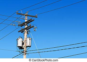 potencia, línea, poste, azul, cielo