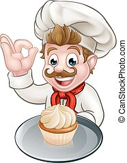 Cartoon Baker or Pastry Chef - A pastry chef or baker...