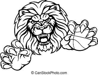 Lion Basketball Ball Sports Mascot