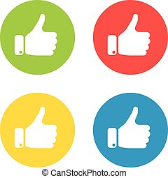 White hand silhouette with thumb up in the circle. Set of four icons in different colors. Gesture of like, agree, yes, approval or encouragement. Simple flat vector illustration