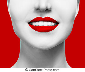 Close-up healthy smile of woman with red lips.