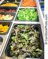 Salad bar - Low calories food salad bar in the food market