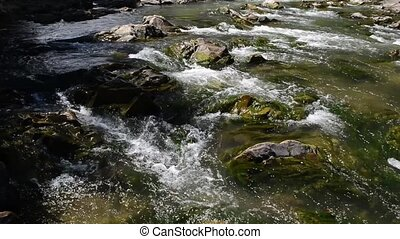 Mountain River with Stones with Transparent Water - Small...