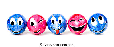 Row of colorful Easter eggs, isolated on white background....