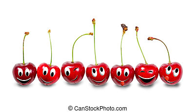 Group of cherries isolated on white background. Funny...
