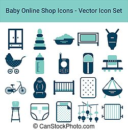 Baby Online Shop Icons On A White Background. Vector Icon Set.