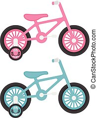 Set Of Two Pink And Blue Kids Bicycles Isolated On A White Background. Vector Illustration.