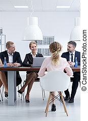 Company recruitment committee - Sitting in front of company...