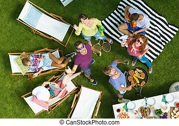 Drone selfie on barbecue - Taking drone selfie during...