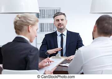 Interview for managerial position - Man making good...