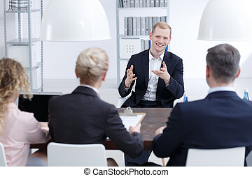 Man trying to convince investors to his project