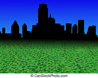 Dallas skyline with abstract dollar currency foreground illustration