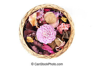 potpourri - Potpourri in flowerpot on a white background