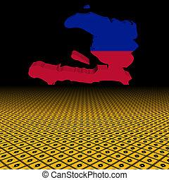 Haiti map flag with hurricane warning sign foreground illustration