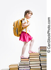 Book stairs - Image of schoolgirl with backpack stepping...