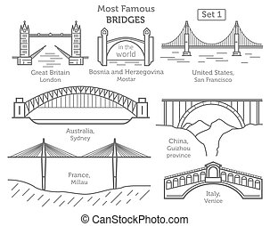 Most famous bridges in the world. Landmarks linear style...