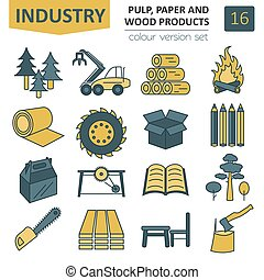Pulp, paper and wood products icon set. Thin line design...