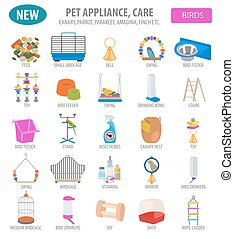 Pet appliance icon set flat style isolated on white. Birds...