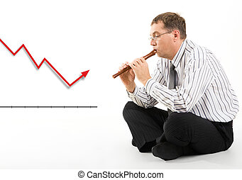 Stock market situation - Photo of businessman with pipe in...