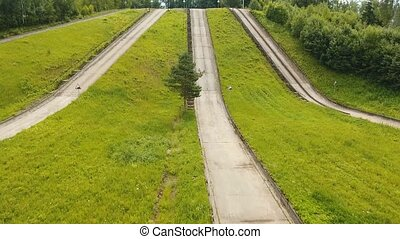 Test road in the forest. Aerial view - Aerial view Road for...