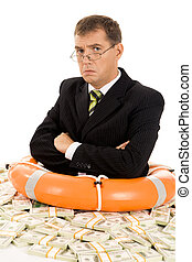 Sulk - Portrait of sulky man inside lifebuoy and dollars...