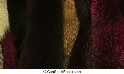 Expensive natural fur - Elegant furs hanging on a store...