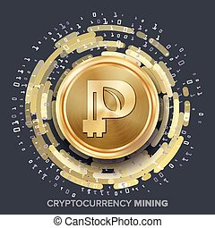 Mining Peercoin Cryptocurrency Vector. Golden Coin, Digital Stream. Futuristic Money. Fintech Blockchain. Processing Binary Data Arrays Operation. Cryptography, Financial Technology Illustration