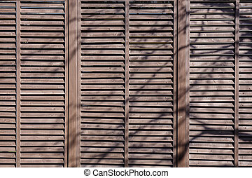 Wooden fence with shady trees