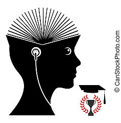 Studying with Audiobook - Student listening to audio book to...