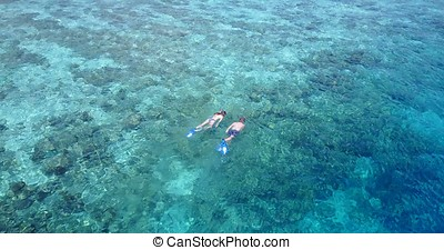 P00068 Aerial flying drone view of Maldives white sandy beach 2 people young couple man woman snorkeling swimming diving on sunny tropical paradise island with aqua blue sky sea water ocean 4k