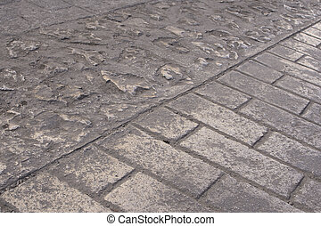 Brick paved street in Chiapas, Mexico - Traditional brick...