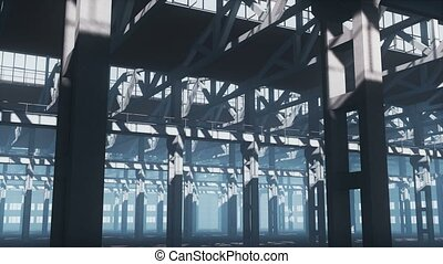 Empty industrial building with iron framework 4K - Interior...