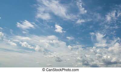 4k Time-lapse photography daytime sky with fluffy clouds -...