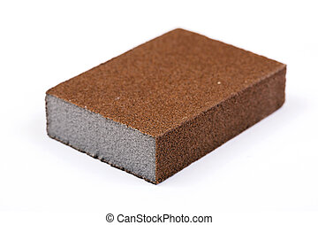 Sandpaper / Abrasive Sponge Isolated On White Background.