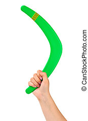 Hand with boomerang isolated on white background