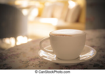 capuchino coffee on table in cafe shop