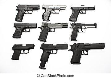 um, sortimento, pistolas