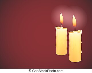 Two burning candles on red background