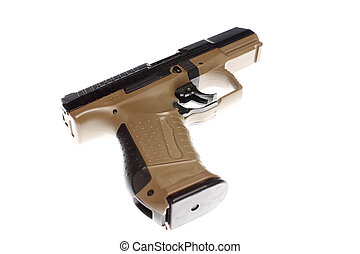 A semi-automatic pistol on the table.