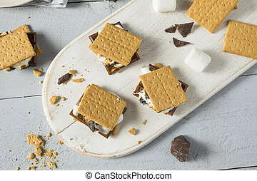 Sweet Homemade Chocolate Smores Dessert with Marshmallows