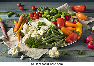 Raw Refreshing Vegetable Crudites Plate with Ranch Dip