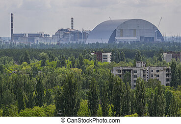 view from roof of 16-storied apartment house in Pripyat...