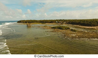Cloud Nine surf point aerial view. Siargao, Philippines....