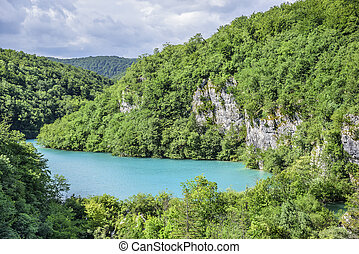 National Park Plitvice Lakes. Croatia. - Lakes with blue...
