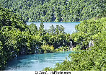 Plitvice Lakes. Croatia. - Lakes with blue water in the...